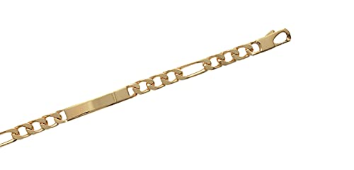 Tata Gisèle - Esclava chapada en oro de 18 quilates, eslabones figaro 1-3 - 8 mm - 21 cm, incluye estuche de regalo
