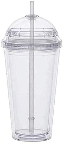 YDH 2 piezas taza de leche con cubierta de cúpula, taza de bebida de plástico de doble capa con pajita, taza de agua transparente reutilizable, taza de fruta transparente