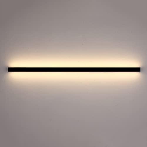 Ganeep Luz De Pared De Tira Minimalista Moderna Acrílico Aluminio Aplique De Pared Interior Largo 50CM-120CM Luces LED Lineales De Cabecera Para Dormitorio Blanco Cálido 3000K Luces De Lavado De Pared
