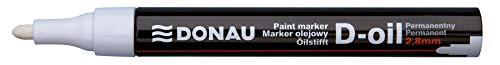DONAU D-OIL 7369001PL-09 - Pennarello indelebile a base di olio, 2,8 mm, colore: bianco, inchiostro impermeabile, carta per plastica, metallo, legno, vetro, scrittura su quasi ogni superficie