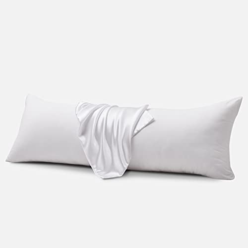 IGI Body Pillows with Satin Pillowcases,Ultra Soft Full Body Pillow for Adults-Long Sleeping Breathable Silk Envelope Closure Bed Pillow,20 x54 -White