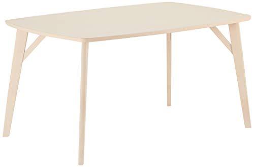 Ibbe Design Rechteckig Buche Esszimmertisch 150x90 Matt Skandinavisch Tisch Esstisch Penang, Weiss Buchenholz, 150x90x75 cm
