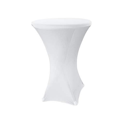 Hengda Stehtischhusse Stehtisch hussen Stretchhusse Weiß Größe:Ø 60-65 cm Universal Tischhusse Stehtischüberzug Husse für Stehtische überwurf für Bistrotisch/Stehtisch Hochzeiten und Feiern