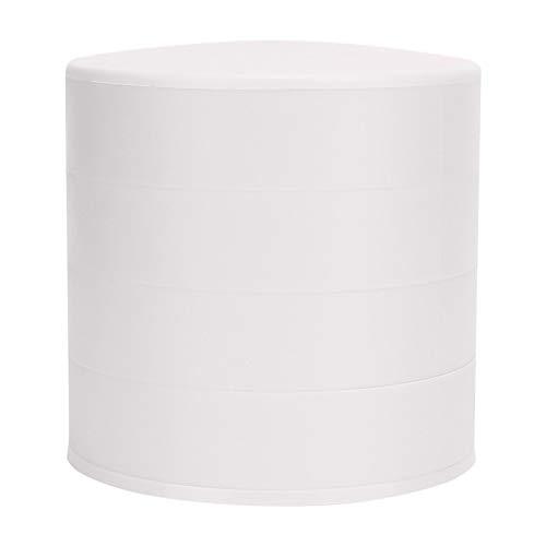 Operalie Joyero, Multifuncional, Redondo, Cuatro Capas, Caja de Almacenamiento de Joyas, colección, Organizador de Estuches con Tapa(Blanco)