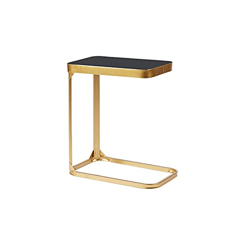 Table D'appoint en Verre Noir, Salle De Séjour Canapé Table Restaurant Appartement Corner Snack Table Balcon Table Basse, 50 * 30 * 55cm(Size:50 * 30 * 55CM,Color:Or)