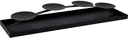 matrasa Kerzenplateau - Kerzentablett für 4 Kerzen - Kerzenhalter Schwarz Metall 58cm XXL - Adventskranz Alternative