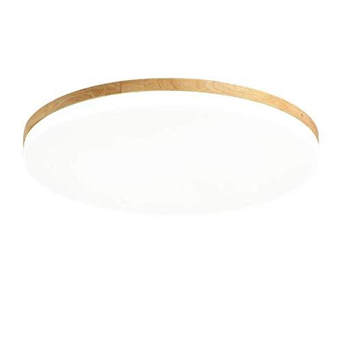 Ultradunne led-plafondlamp, rond, moderne led-woonkamerlamp, houten lamp, plafondlamp, eiken, vintage, kantoor, plafondlamp, slim (kleur: warmwit licht, afmetingen: