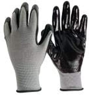Firm Grip Nitrile Coated Tough Working Gloves: Black, Large Size (15 Pairs)