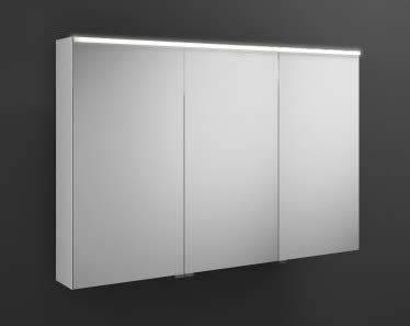 Burgbad Eqio spiegelkast met horizontale LED-verlichting, middelste deurscharnier links SPGS120R, breedte: 1200mm, Corpus: Witte hoogglans - SPGS120RF2009