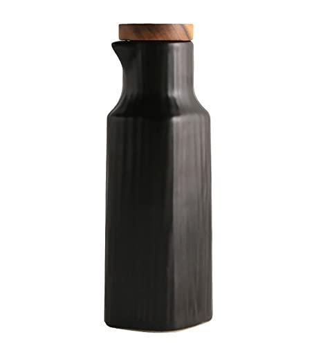 Dispensador De Aceite Dispensador De Aceite Y Vinagre De Cerámica Simple Botella De Aceite De Cocina Con Pico A Prueba De Fugas Contenedor De Condimentos Domésticos Botella De Aceite,Negro
