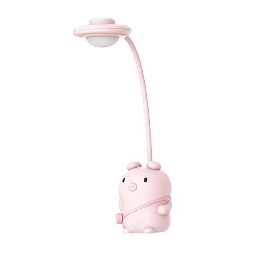 Non-brand Lámpara de Escritorio LED, 3 Luces Que cuidan de Brillo en la Cama para Leer los Ojos/Trabajo artístico/mesita de Noche, Cuello de Cisne Flexible - Rosa