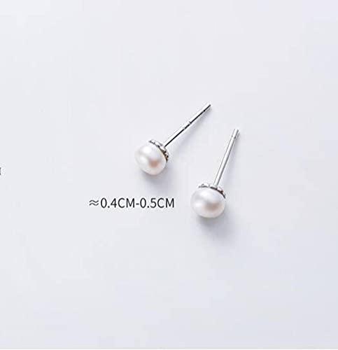LOt S925 Aretes de Plata Blanca Temperamento Coreano Damas Simples Toro Pequeños Aretes Perforados de una Sola Perlaplata, 0.4-0.5mm
