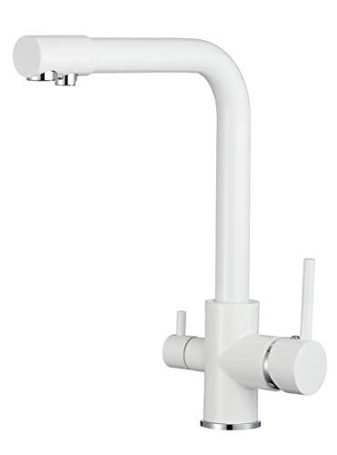 VALAZ Grifo de cocina 3 vías para osmosis monomando giratorio 360 Blanco para fregadero