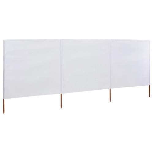 Susany Paraviento Plegable de 3 Paneles para Playa,Textil no Tejido,Postes de Madera,Blanco 400x120cm