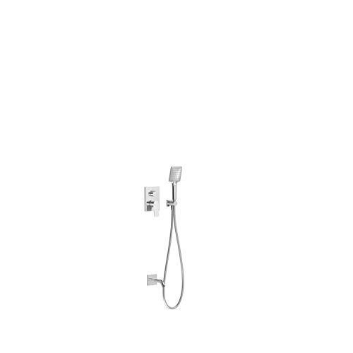 Kit de grifo monomando empotrado de 2 vías Rapid-Box para bañera y ducha, gama Project-Tres, con caño fijo a pared y ducha de mano, acabado cromo (referencia: 21128070)