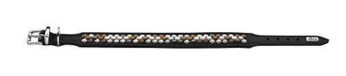 HUNTER ARIZONA Hundehalsband, Leder, mit Nietenbesatz, 42 (S-M), schwarz