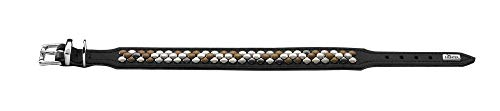 HUNTER ARIZONA Hundehalsband, Leder, mit Nietenbesatz, 37 (XS-S), schwarz