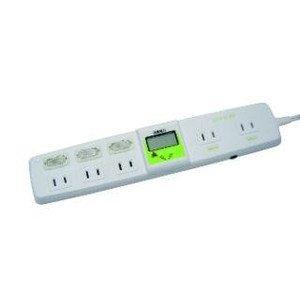 ワットメーター付電源タップ2P5口2m検電器消費電力計節電対策省エネタップ節電タップコンセントTP1052DW