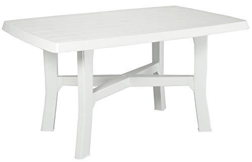 Tavolo tavolino Rettangolare in Resina di plastica Bianco per Esterno da Giardino terrazzo Bar sagra Campeggio con Foro per ombrellone