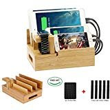 Bamboo Desktop Charger Station Coeuspow Wood Multi-Device Charging Station Handmade & Eco-Friendly Dock Compatible for Apple Watch iPhone iPad Smartphone and Tablets?Handmade & Eco-Friendly