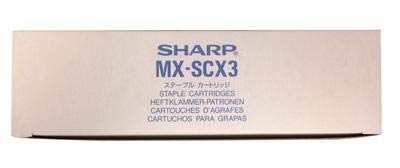 Sharp MX-SCX3 - Grapas para MX-M110, MX-M850, MX-M950 MX-FN10, MX-FNX7, MX-FNX8 (Caja de 4-2000 Grapas por Cartucho)