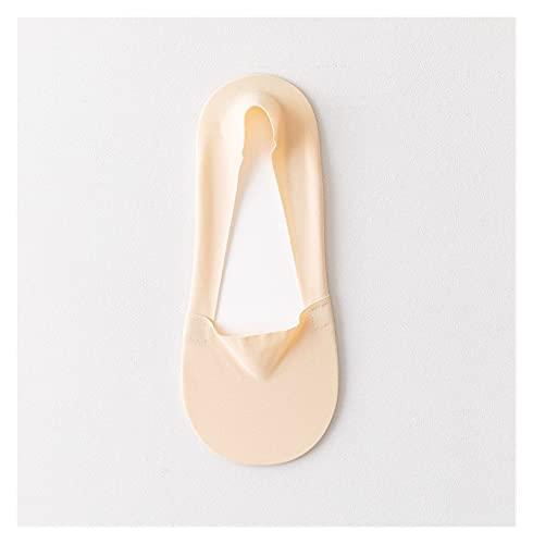 靴下 レディース夏の薄い靴下スリッパシリコーン滑り止めアイスシルクソックスシームレスな見えない女性のボートソックス (Color : Skin 1Pairs)