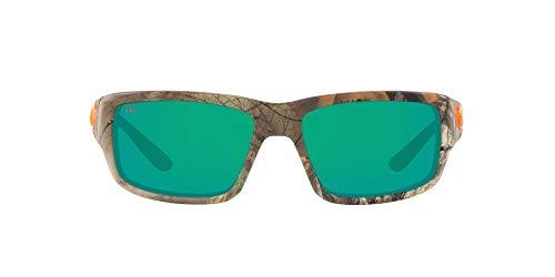 Costa Del Mar Men's Fantail 580G Polarized Rectangular Sunglasses, Realtree Extra Camo/Copper Green Mirrored Polarized-580G, 59 mm