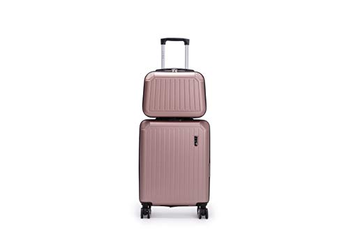 LYS Set of 2 Rigid Cabin Suitcases 55 cm with 8 Wheels and Vanity Case 35 cm Grey Set of 2 (Pink)