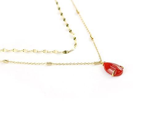 【セール品 】日本産 赤珊瑚 サンゴ ダブルチェン プチ ネックレス 18k イエロー ゴールド プレゼント 御守り 記念日 3月誕生石
