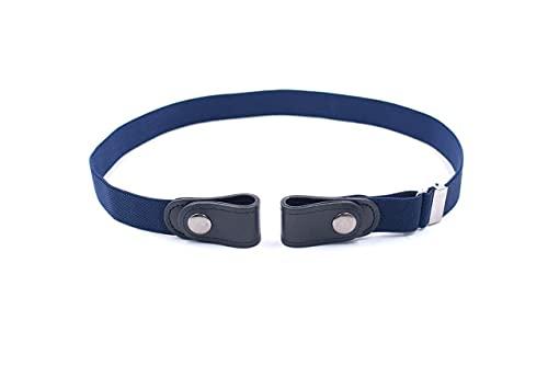 Cinturón elástico sin hebilla, pantalones vaqueros invisibles, cintura elástica, cinturón sin hebilla para mujeres y hombres, azul, Talla única