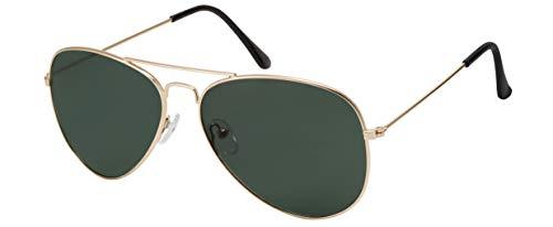 La Optica B.L.M. Herren Sonnenbrille Damen UV400 Retro Pilotenbrille Vintage Fliegerbrille 70er Jahre Groß - Gold Farben (Gläser: Grün Klassisch)
