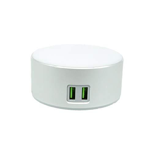 USide Lámpara de noche multifuncional,3 niveles de brillo,control sensible al tacto,Dos puertos de carga incorporados,Puede cargar la tableta del teléfono