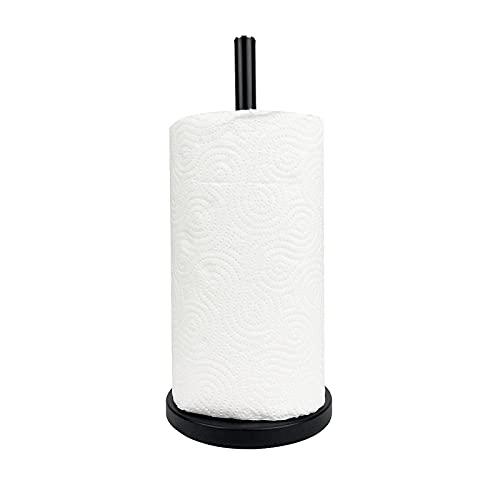 Porta Rotolo da Cucina Verticale per Tavolo, Organizer Portarotolo in Acciaio Nero con Base Antiscivolo, per Rotoloni di Asciugatutto e Asciugamani di Carta
