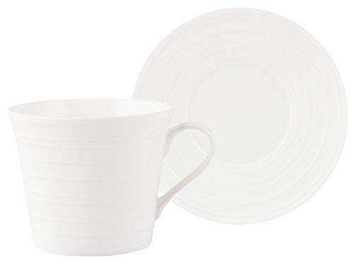 Mikasa Ciara- Taza de té y platillo, porcelana, blanco, 1 unidad