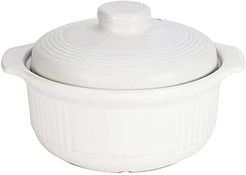 ZHEYANG Cazuelas de Barro para Horno Platos para cazuela con Tapas Plato para cazuela - Olla de cocción - Mejora Deliciosa, sin decoloración y sin envejecimiento 2L 3L Blanco
