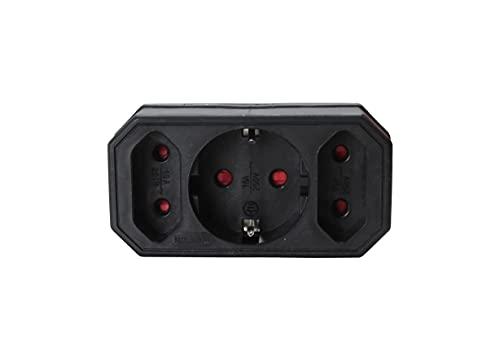 Adaptador 3 tomas color negro 10A 250V MAX 3680.