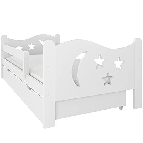 Letto per bambini con materasso NeedSleep | letto montessori per bambino basso | 70x140 70x160 70x180 | letto singolo con cassetti | lettino bimbo completo letto | stella (70x140 cm, bianco)