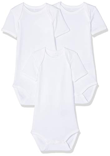 NAME IT Unisex Baby Strampler NBNBODY 3P SS SOLID WHITE NOOS 3er Pack, Weiß (Weiß Bright White), 74