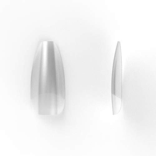Transparante Coffin/Ballerina nageltips, breed opzetstuk, 100 stuks in een tipbox voor Coffin/Ballerina manicure van Veronica NAIL-PRODUCTS.