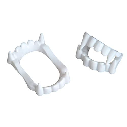 Neliblu 24 White Vampire Fangs, Plastic Teeth, Costume Accessory Halloween Party Favors