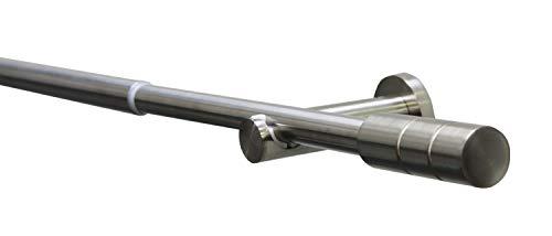 GARDINIA Gardinenstangen-Set Kreta Zylinder, Komplettstilgarnitur inkl. Befestigungsmaterial, Länge 120-210 cm, Metall, Edelstahl-Optik