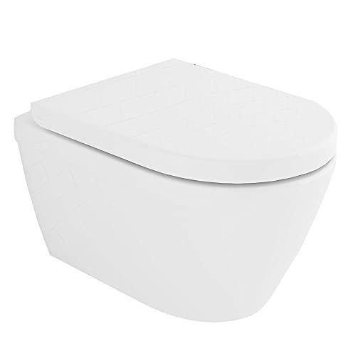 Spülrandloses Hänge-WC mit Lotuseffekt | Tiefspül-WC mit Antibakterielle Beschichtung | Quick-Release WC-Sitz mit Absenkautomatik | Optimale Spültechnologie | inkl. Befestigungsset | Rimless Toilette