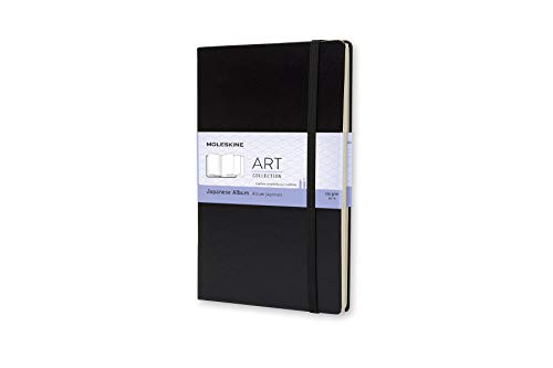 Moleskine Art Japanese Album, Hard Cover, Large (5' x 8.25') Plain/Blank, Black, 48 Pages