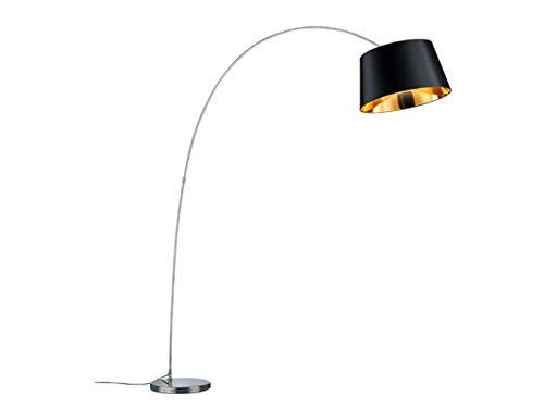 Moderne 1flammige LED Bogenleuchte chromfarben, mit Stofflampenschirm Ø50cm in schwarz, innen goldfarbig, max. Höhe 210cm