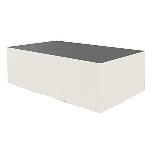 Planesium Premium - Funda protectora para mesa de jardín (575 g/lfm, 160 x 140 x 100 cm), color gris y blanco