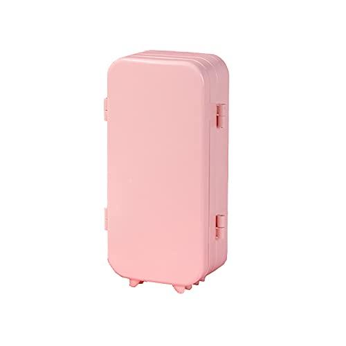 Kudiro Caja de almacenamiento de joyería Pendientes portátiles Collar Caja de almacenamiento hogar multi-capa exquisita pantalla con espejo Joyero (rosa)