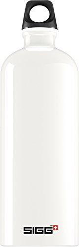 SIGG Traveller White Botella cantimplora (1 L), botella con tapa hermética sin sustancias nocivas, botella de aluminio ligera