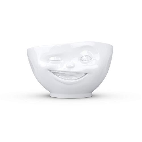 Fiftyeight Schale Zwinkernd in weiß, 500 ml - Müslischale - Suppenschale - Schüssel mit Gesicht in Geschenkbox