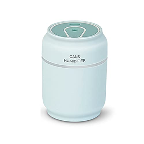 CNmuca Moda latas umidificador três em um mini portátil casa silenciosa carro pequeno umidificador USB abajur pequeno ventilador azul