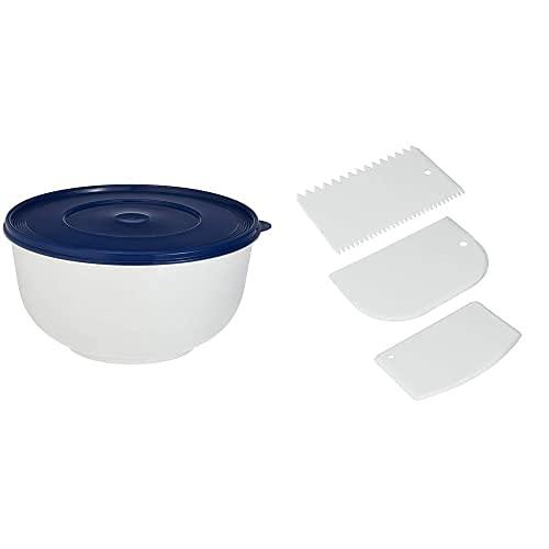 Emsa Superline Tazón Para Dejar Levar Masa Con Tapa, Polietileno/Polipropileno, Blanco/Azul, 5 L ,1 Unidad + Metaltex Juego 3 Espatulas Plastico Reposteria, Color Blanco, Estandar